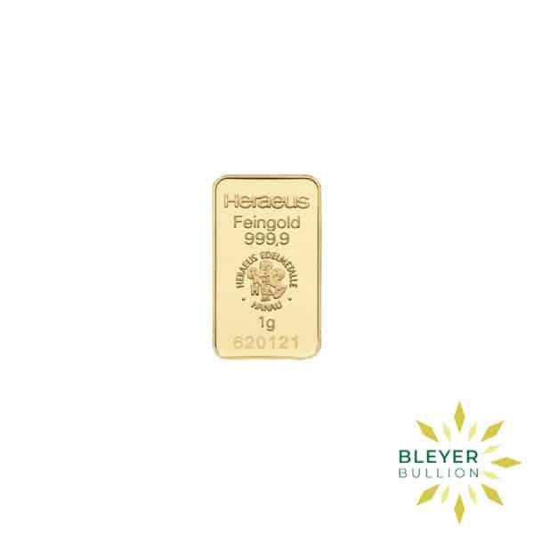 Bleyers Bars 1g Heraeus Minted Gold Bar