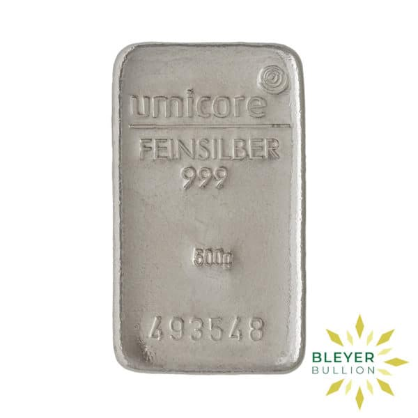 Bleyers Bar 500g Umicore Cast Silver Bar 1