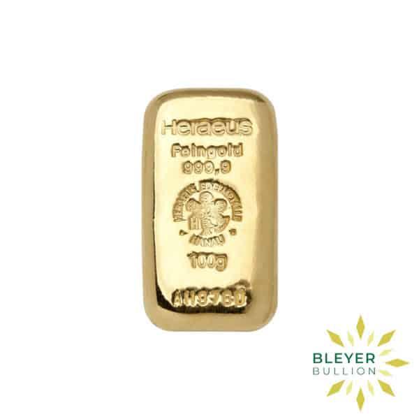 Bleyers Bars 100g Heraeus Cast Gold Bar 1