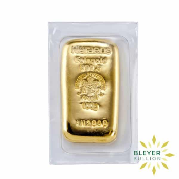 Bleyers Bars 100g Heraeus Cast Gold Bar 2