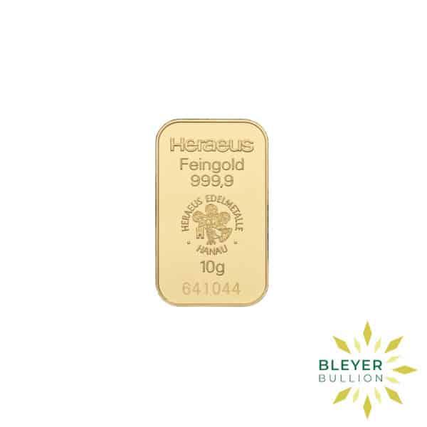 Bleyers Bars 10g Heraeus Minted Gold Bar 1