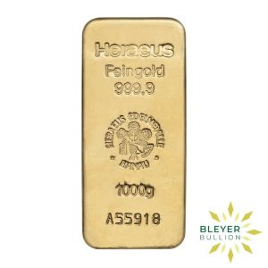 Bleyers Bars 1kg Heraeus Cast Gold Bar 1