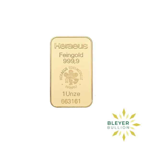 Bleyers Bars 1oz Heraeus Minted Gold Bar 1