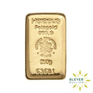 Bleyers Bars 250g Heraeus Cast Gold Bar 1