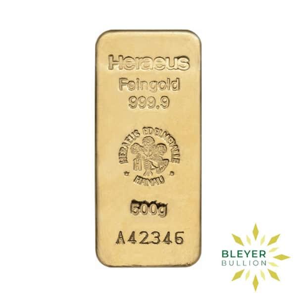 Bleyers Bars 500g Heraeus Cast Gold Bar 1