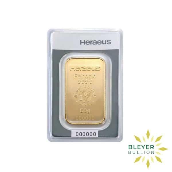 Bleyers Bars 50g Heraeus Minted Gold Bar 2