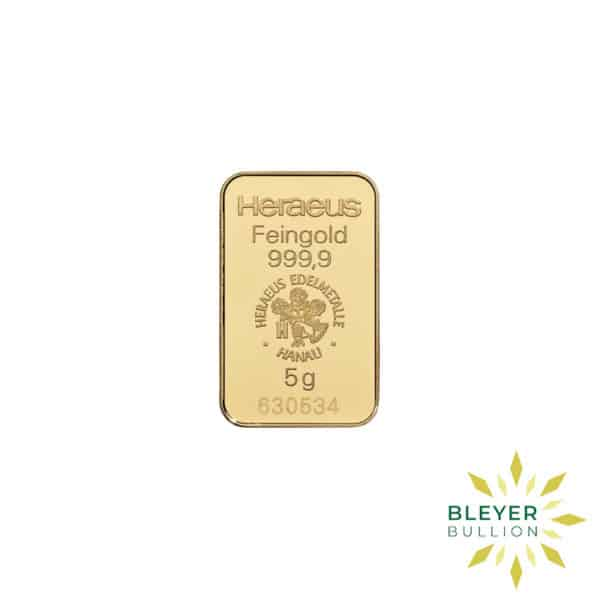 Bleyers Bars 5g Heraeus Minted Gold Bar 1