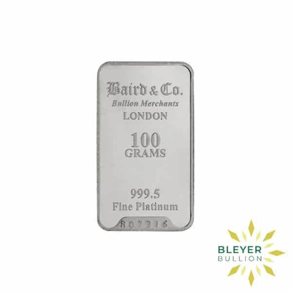 Bleyers Bar 100g Baird Co Minted Platinum Bar