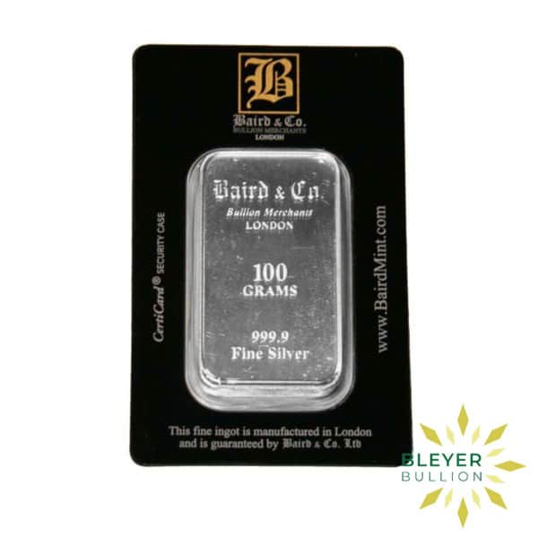 Bleyers Bar 100g Baird Co Minted Silver Bar 1