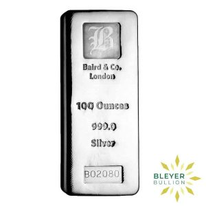 Bleyer's-Bar-100oz-Baird-&-Co-Cast-Silver-Bar