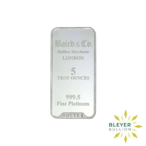 Bleyers Bar 5oz Baird Co Minted Platinum Bar