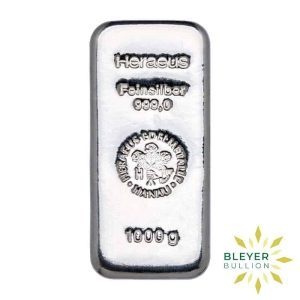 Bleyers Bars 1kg Heraeus Cast Silver Bar