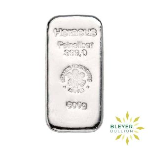 Bleyers Bars 500g Heraeus Cast Silver Bar
