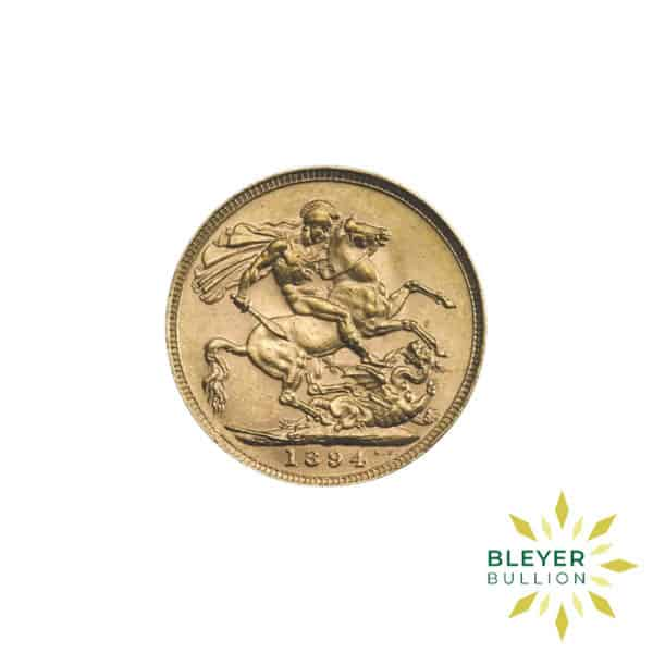 Bleyers Coin Full UK Gold Sovereign Queen Victoria Veiled Head Back