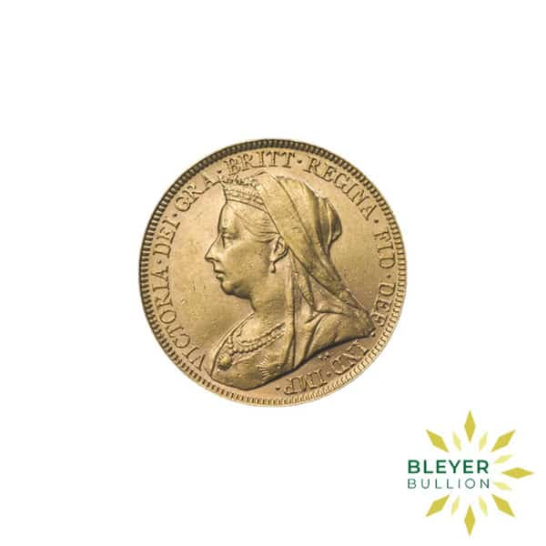 Bleyers Coin Full UK Gold Sovereign Queen Victoria Veiled Head Front
