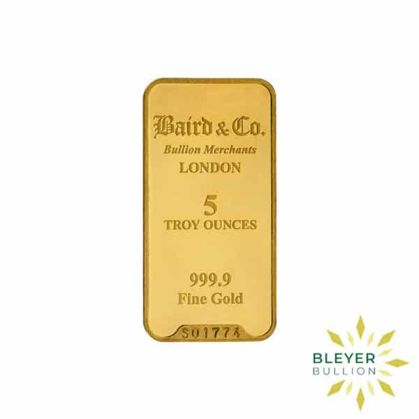 Bleyers Bar 5oz Baird Co Minted Gold Bar1