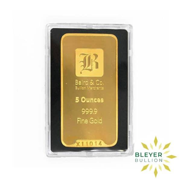 Bleyers Bar 5oz Baird Co Minted Gold Bar4