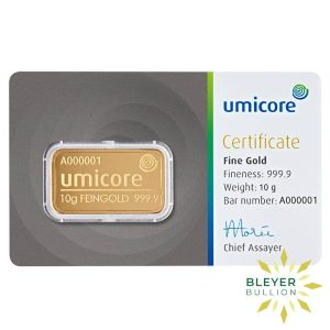 Bleyers Bar 10g Umicore Minted Gold Bar 10g 1