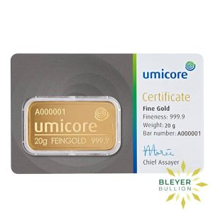 Bleyers Bar 20g Umicore Minted Gold Bar 1