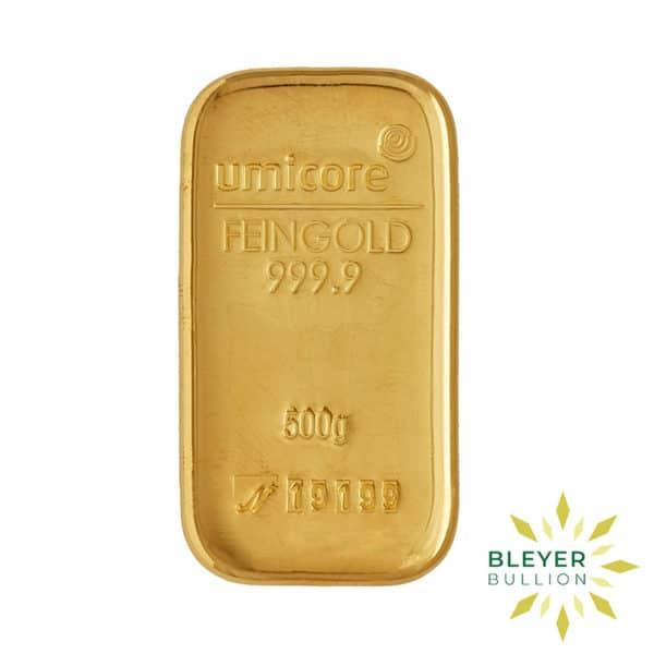 Bleyers Bar 500g Umicore Cast Gold Bar 1