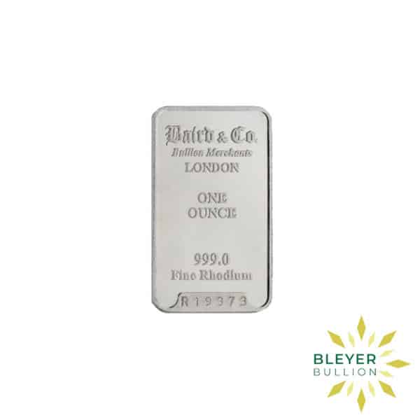 Bleyers Bar 1oz Baird Co Minted Rhodium Bar1