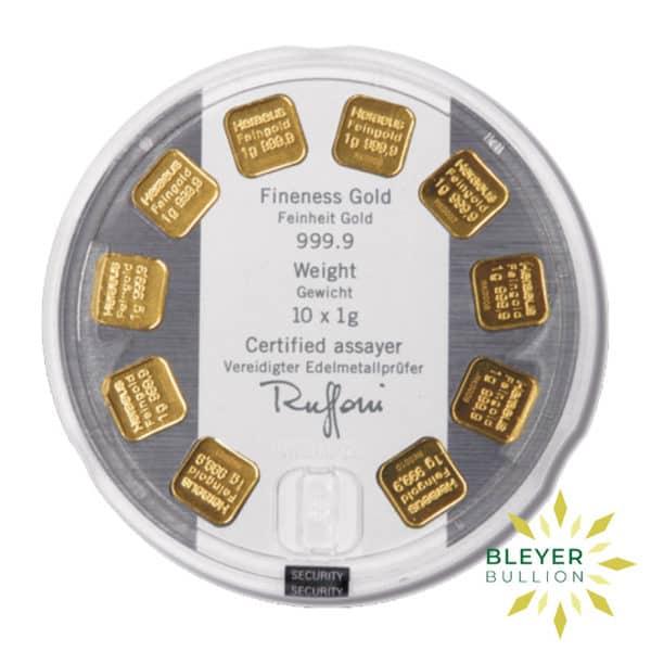 Bleyers Bars Heraeus MultiDisk – 10x 1g Gold Bars 2
