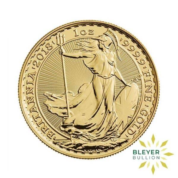Bleyers Coin 1oz Gold UK Britannia Coin 2018 Front