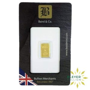 Bleyers Bar Sizes 1g Baird Co Minted Gold Bar Front