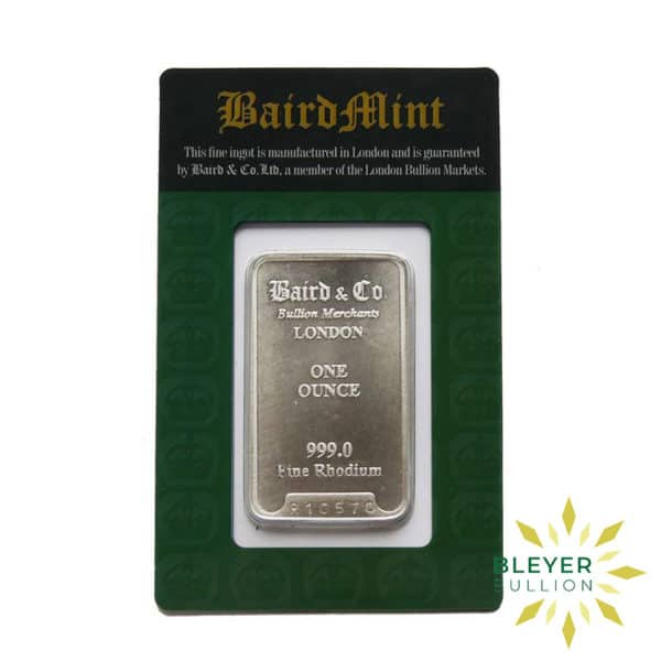 Bleyers Bar 1oz Baird Co Minted Rhodium Bar BV 1