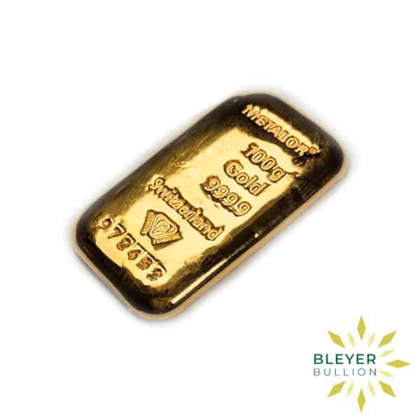 Bleyers Bars 100g Metalor Cast Gold Bar 2