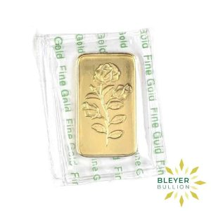 Bleyers Bar 1oz Gold PAMP Rosa FRONT