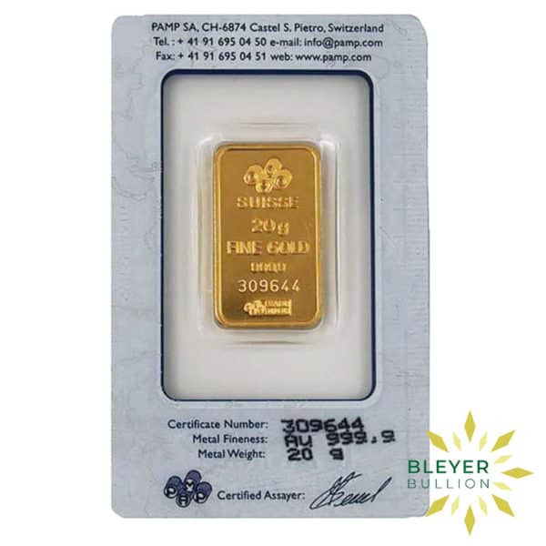 Bleyers Bars 20g Pamp Minted Gold Bar 2