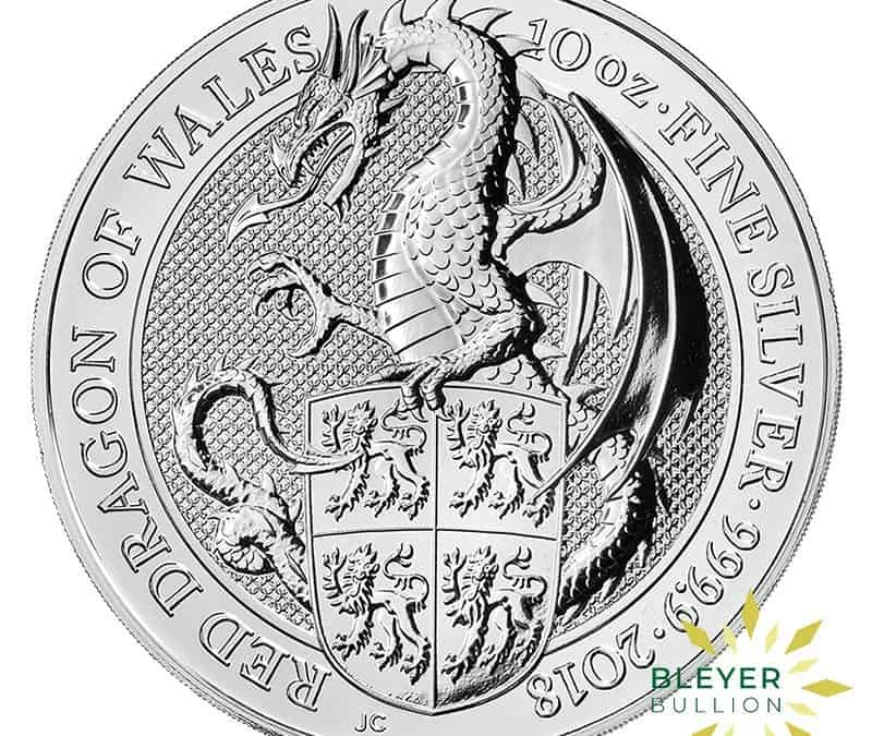 10oz Silver UK Queen's Beasts Red Dragon of Wales Coin, 2018