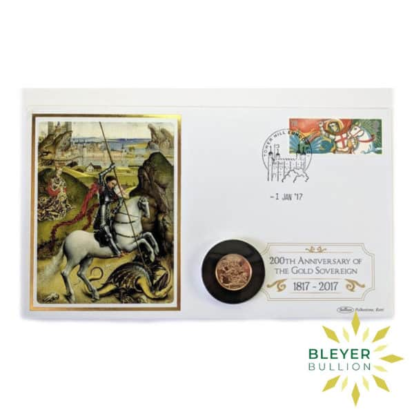Bleyers Coin UK Gold Sovereign 2017 200th Anniversary Stamp Cover Front