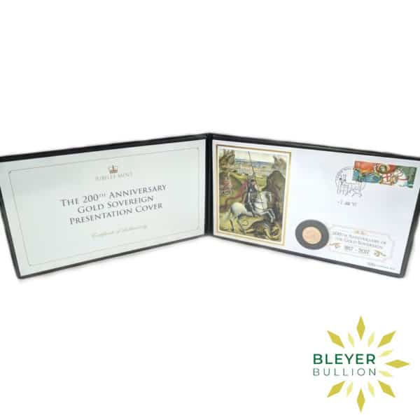 Bleyers Coin UK Gold Sovereign 2017 200th Anniversary Stamp Cover Open