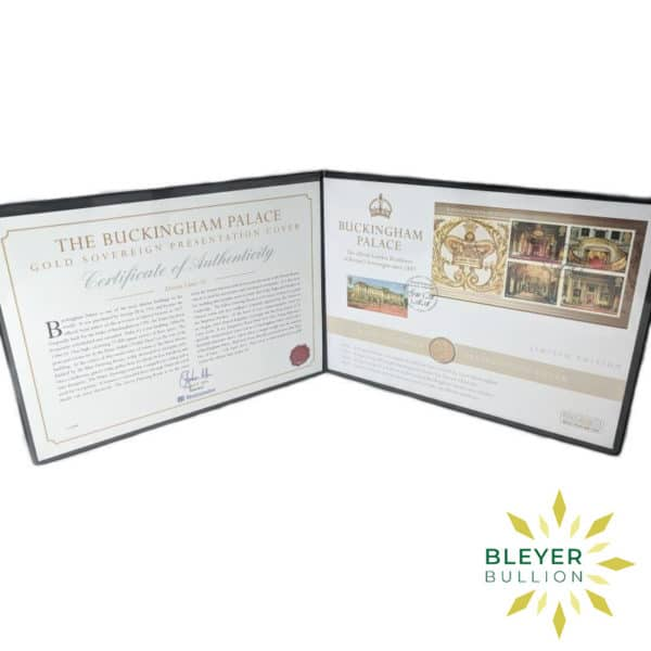 Bleyers Coin UK Gold Sovereign Buckingham Palace Stamp Cover 2014 Open