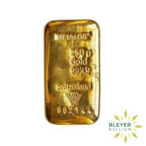 Bleyers Bars Best Value 250g Metalor Cast Gold Bar 1