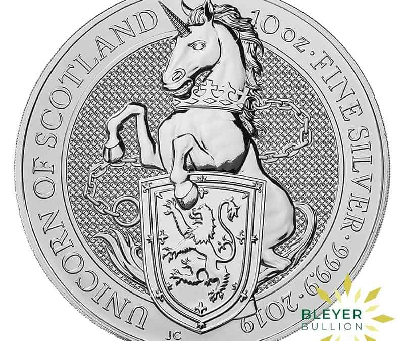 10oz Silver UK Queen's Beasts Unicorn of Scotland Coin, 2019