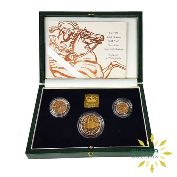UK Gold Proof Sovereign Three Coin Collection 1999 Open