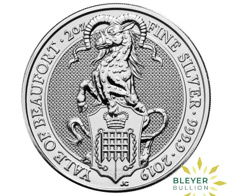 2oz Silver UK Queen's Beasts Yale of Beaufort Coin, 2019