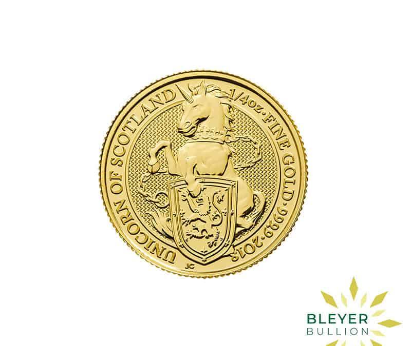 1/4oz Gold UK Queen's Beasts Unicorn Coin, 2018