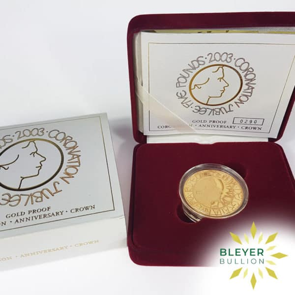 Bleyers Coin Proof 5 Gold Crown – 2003 Coronation Jubilee Boxed Quintuple Sovereign Certificate