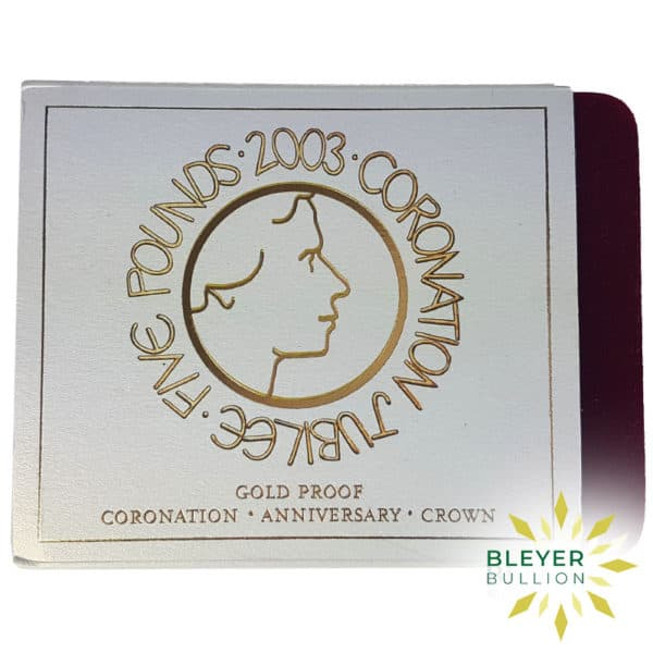 Bleyers Coin Proof 5 Gold Crown – 2003 Coronation Jubilee Boxed Quintuple Sovereign Certificate2