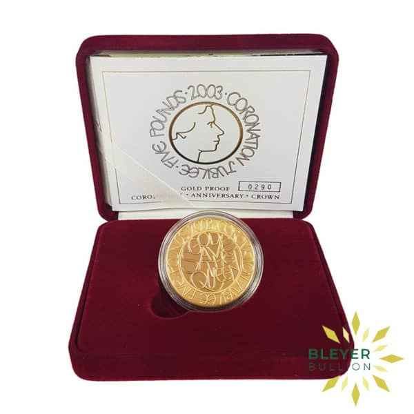 Bleyers Coin Proof 5 Gold Crown – 2003 Coronation Jubilee Boxed Quintuple Sovereign Front