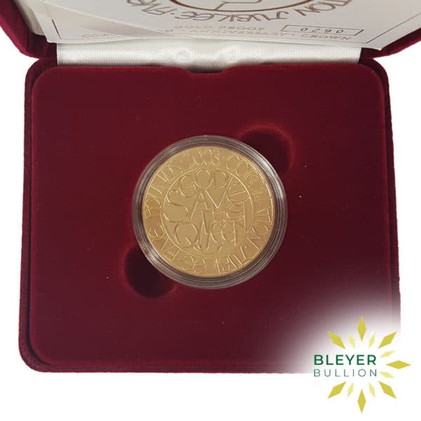 Bleyers Coin Proof 5 Gold Crown – 2003 Coronation Jubilee Boxed Quintuple Sovereign Top