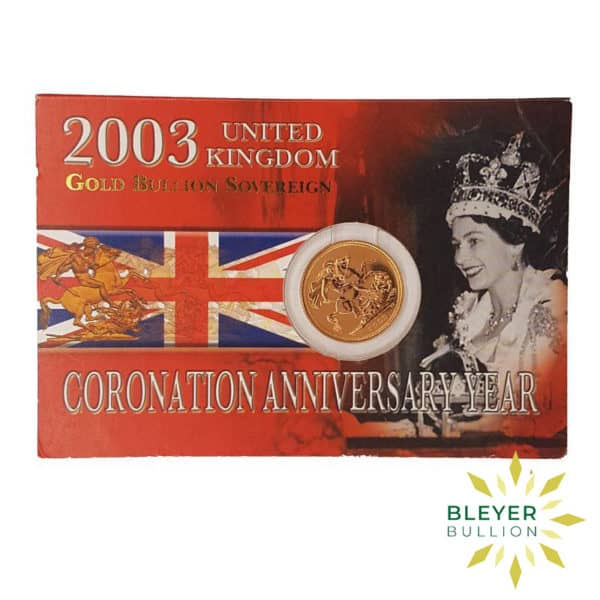 Bleyers Coin UK Gold Sovereign 2003 – Coronation Anniversary Year Front
