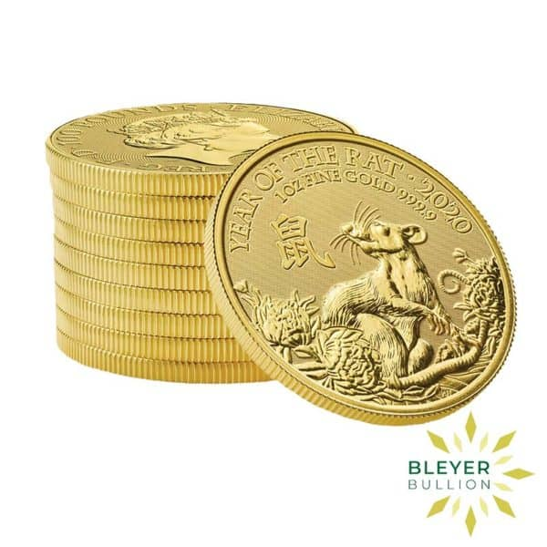 Bleyers Coin Cutouts 1oz Gold UK Lunar Collection Rat Stack