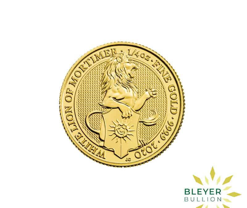 1/4oz Gold UK Queen's Beasts White Lion of Mortimer Coin, 2020