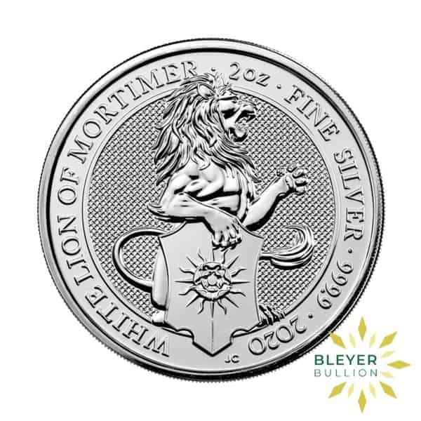 Bleyers Coins 2oz Silver UK Queens Beast White Lion of Mortimer Coin 2020 1