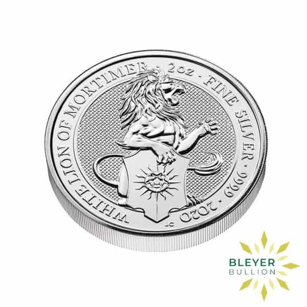 Bleyers Coins 2oz Silver UK Queens Beast White Lion of Mortimer Coin 2020 3